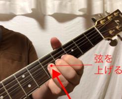 ギターチョーキング奏法写真 左手の指で弦を上げる